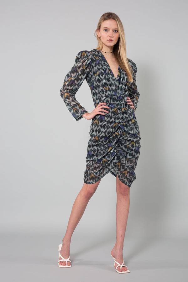Ruching Down Mini Dress - Shop Beulah Style