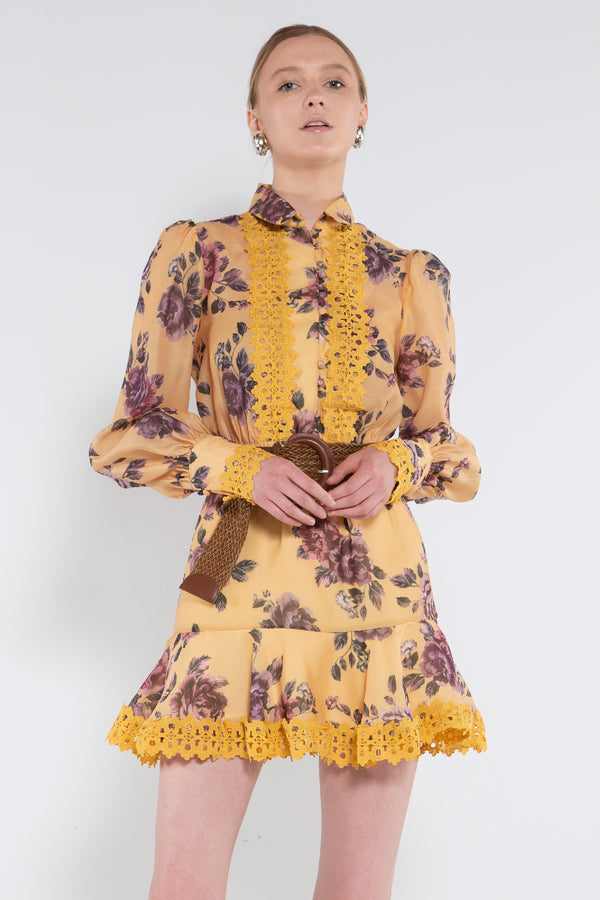 A-line Floral Lace Shirtdress - Shop Beulah Style