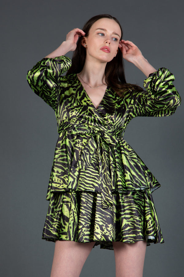 Green Animal Print Mini Dress - Shop Beulah Style
