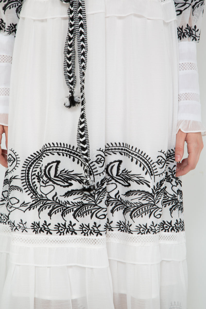 Ruffled Shoulder Maxi Dress with Embroidery Details - Shop Beulah Style