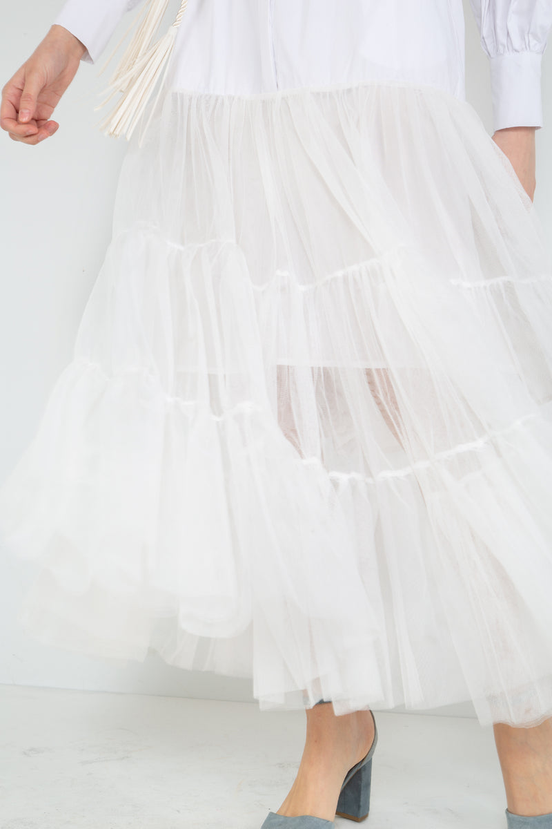 Tiered Tulle Maxi Dress - Shop Beulah Style