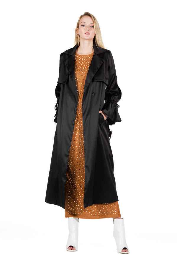 Notch Collar Coat with Shoulder Flaps - Shop Beulah Style