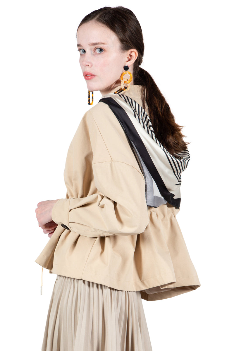 Drop Shoulder Back Scarf Jacket - Shop Beulah Style