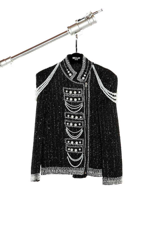 Pearl Embellished Zip-Up Jacket - Shop Beulah Style