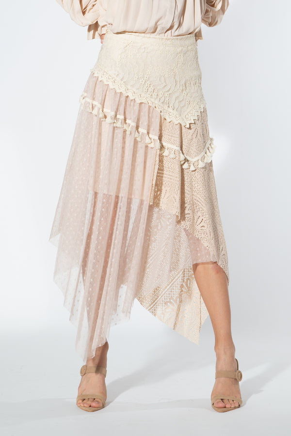 Ivory Lace Skirt - Shop Beulah Style