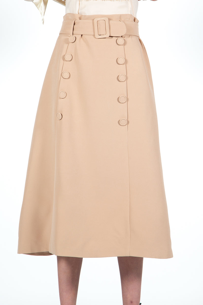 Button Embellished Midi Skirt - Shop Beulah Style