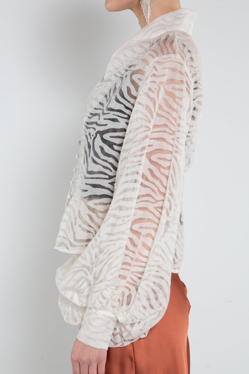See Through Animal Print Balloon Sleeve Blouse - Shop Beulah Style