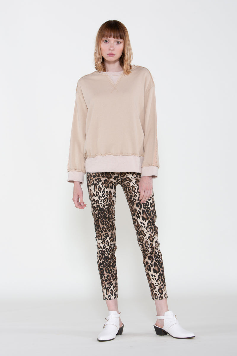 Khaki Crewneck Sweater - Shop Beulah Style