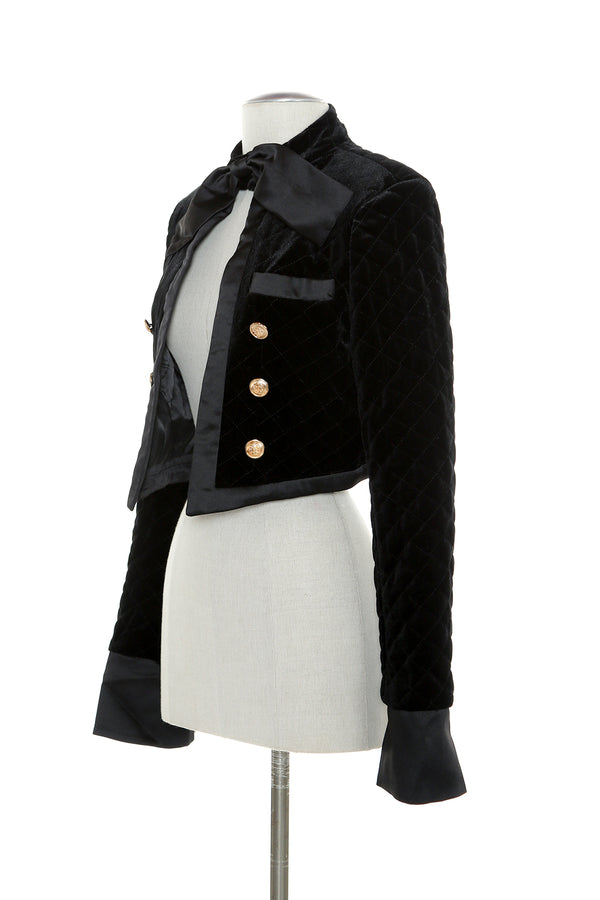 Velvet Jacket with Bow on Neck - Shop Beulah Style