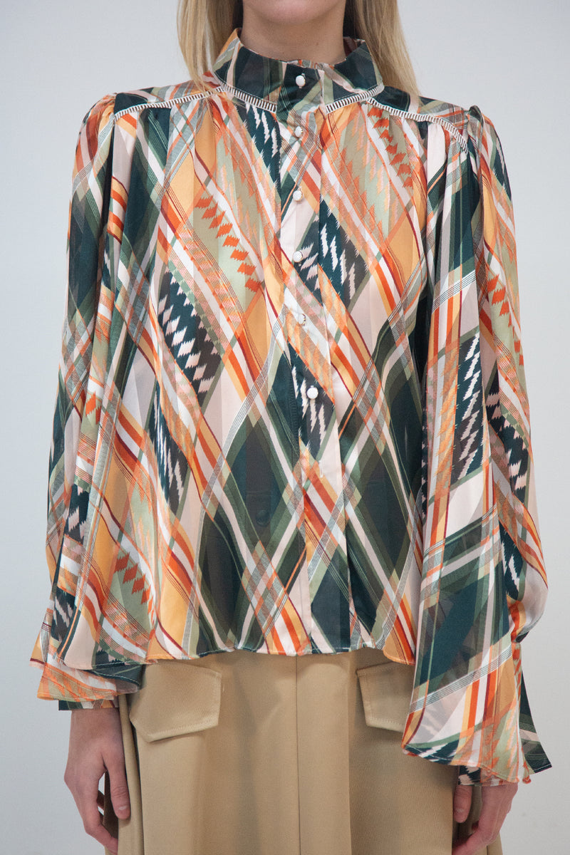 Geometric Print Pleated Loose Fit Blouse - Shop Beulah Style
