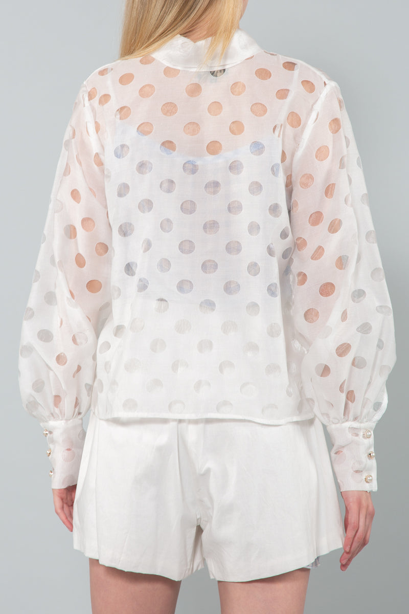 Sheer Polka Dot Bow Neckline Top - Shop Beulah Style