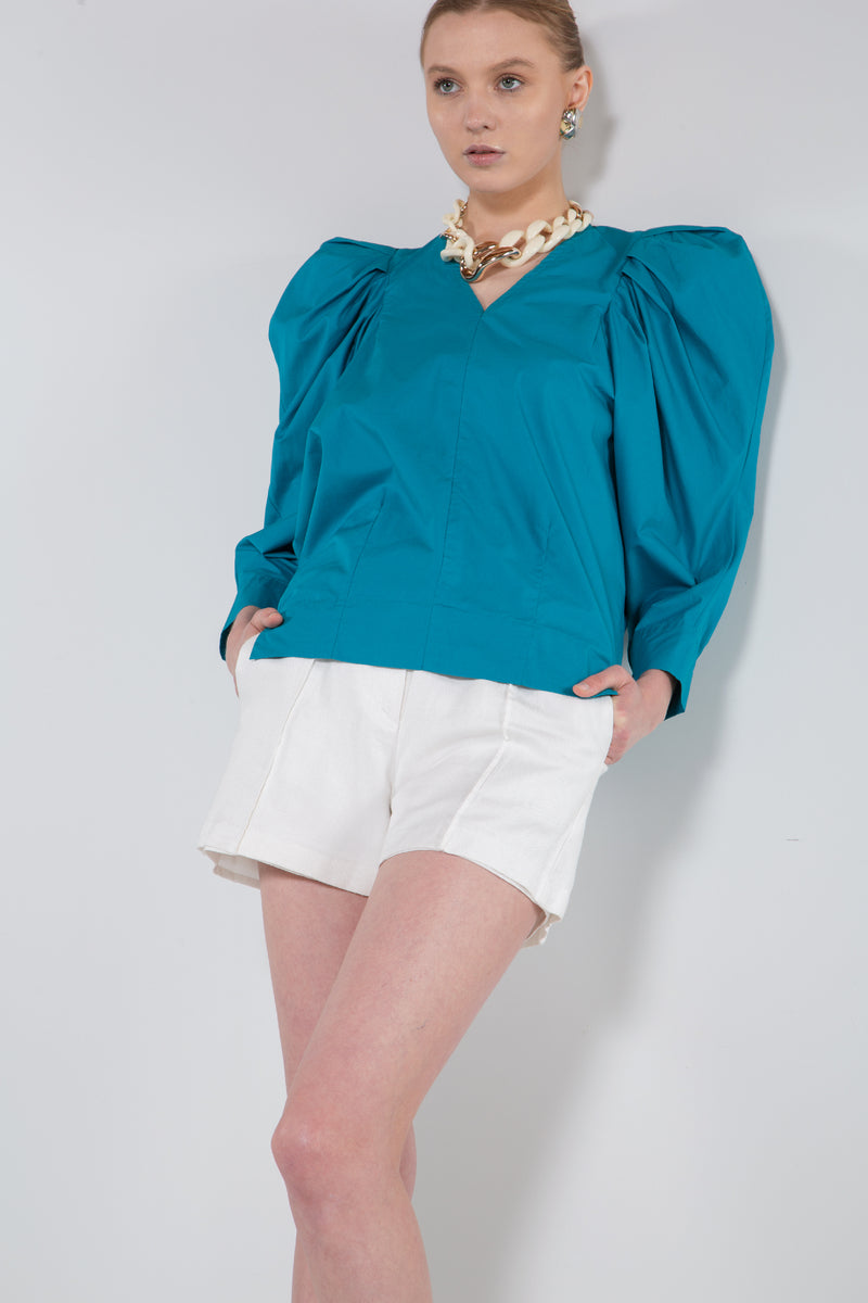 Woven Blouse with Puff Shoulders - Shop Beulah Style