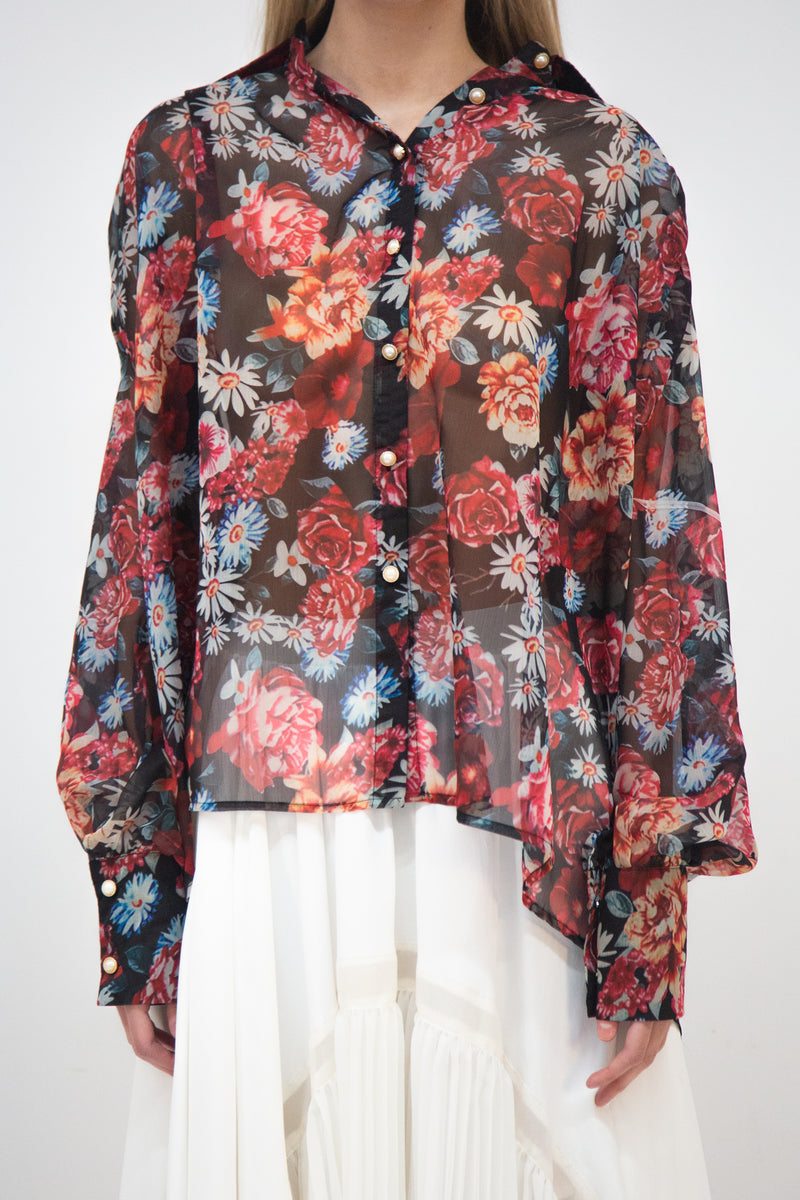 Floral Chiffon Loose Fit Blouse