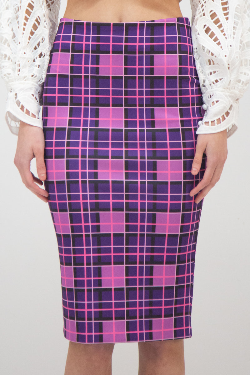Plaid Pattern Pencil Skirt - Shop Beulah Style