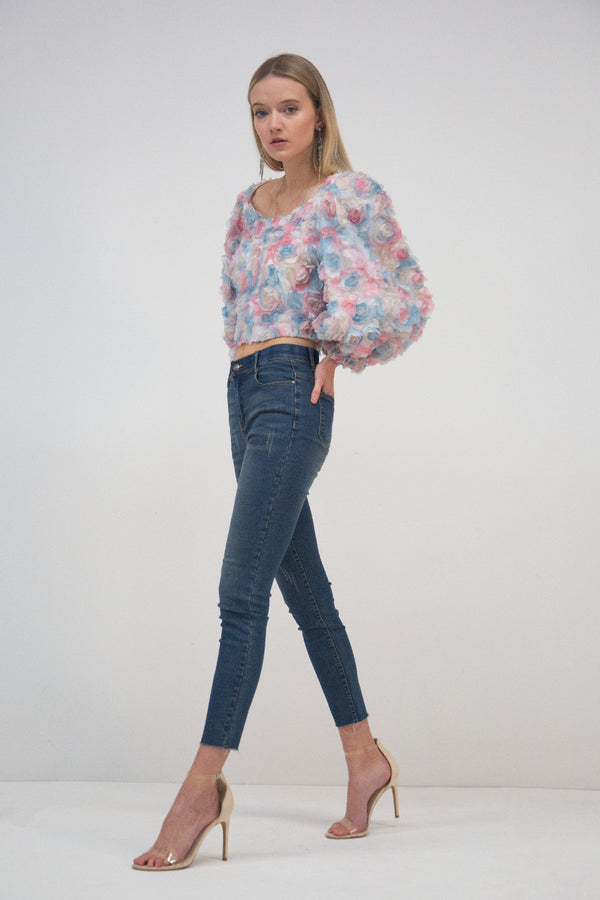 Floral Lace Top with Puff Sleeves