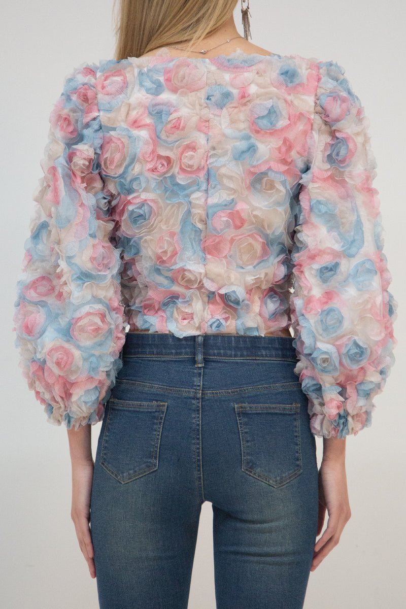 Floral Lace Top with Puff Sleeves - Shop Beulah Style