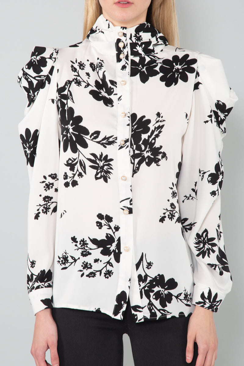 Floral Pleated Shoulder Blouse - Shop Beulah Style