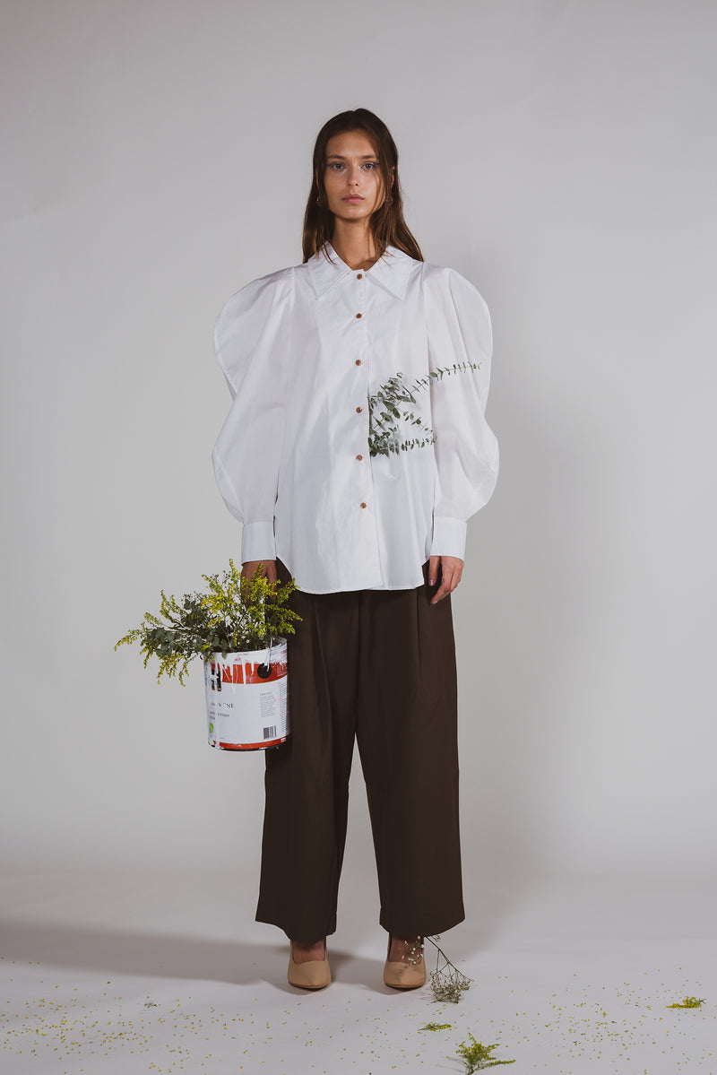 Oversized Bishop Collar Shirt - Shop Beulah Style