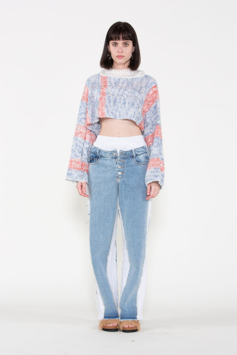 Multicolor High Cropped Knit Hoody - Shop Beulah Style