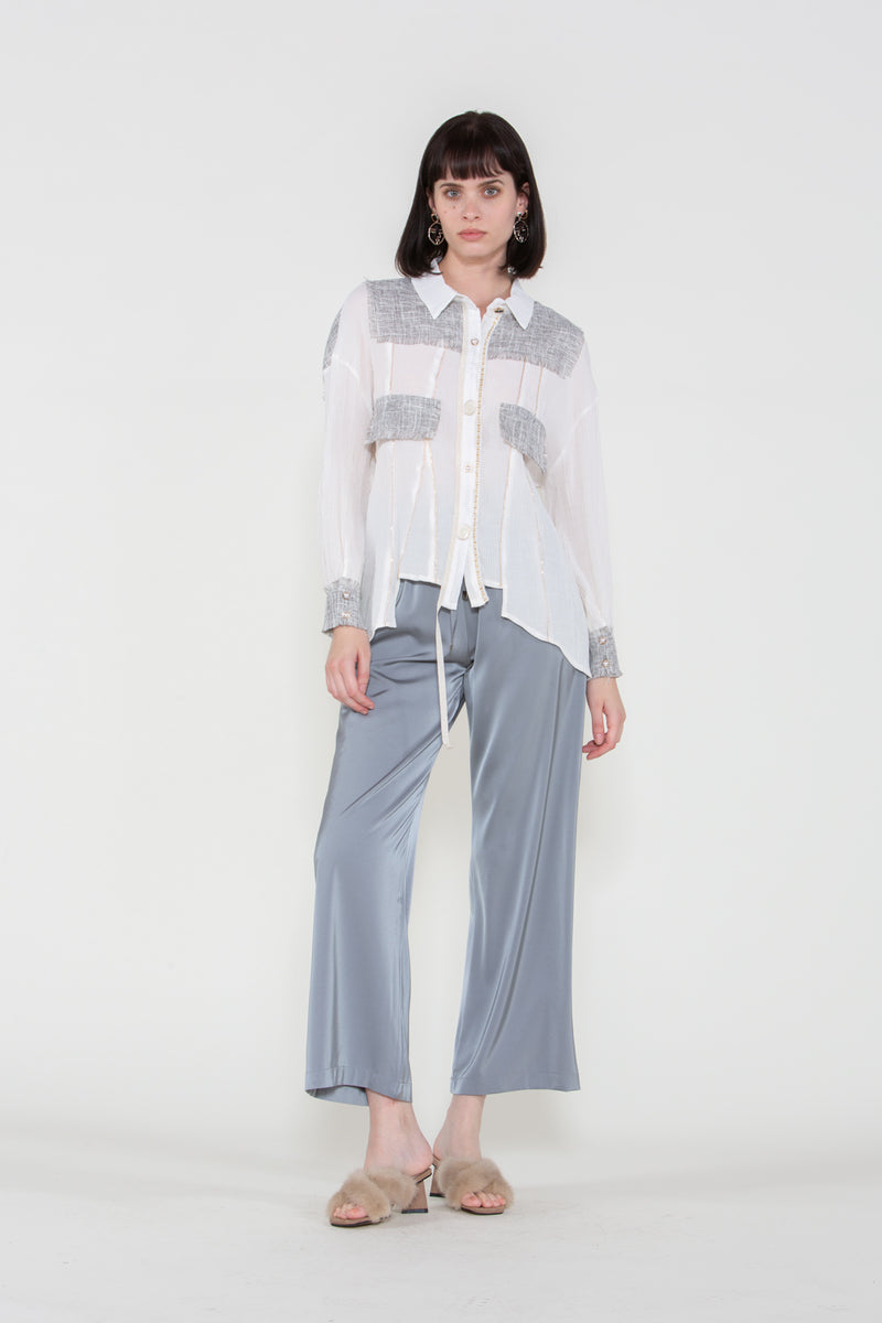Tweed Patch Chiffon Blouse - Shop Beulah Style