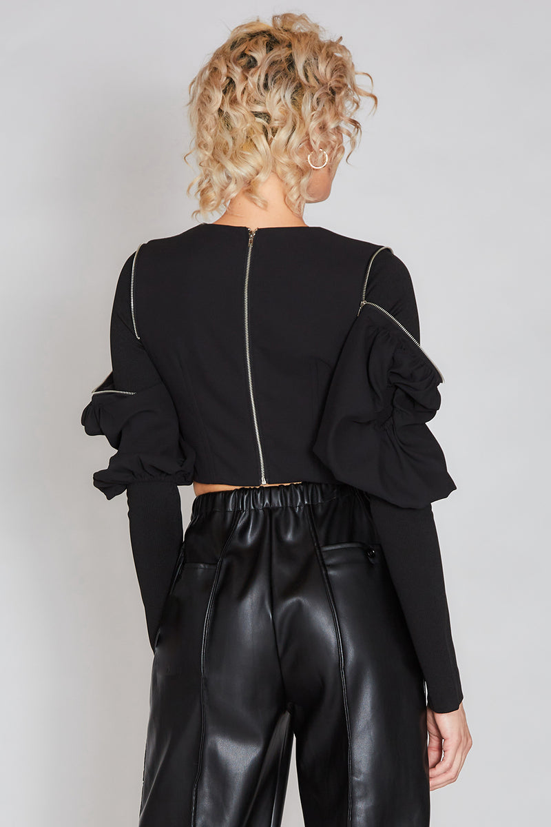 Stylish Black Top with Zipper - Shop Beulah Style