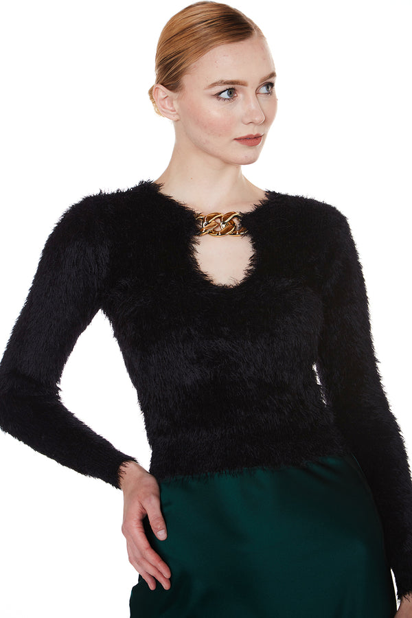 Fuzzy Slim Fit Sweater with Metallic Chain - Shop Beulah Style
