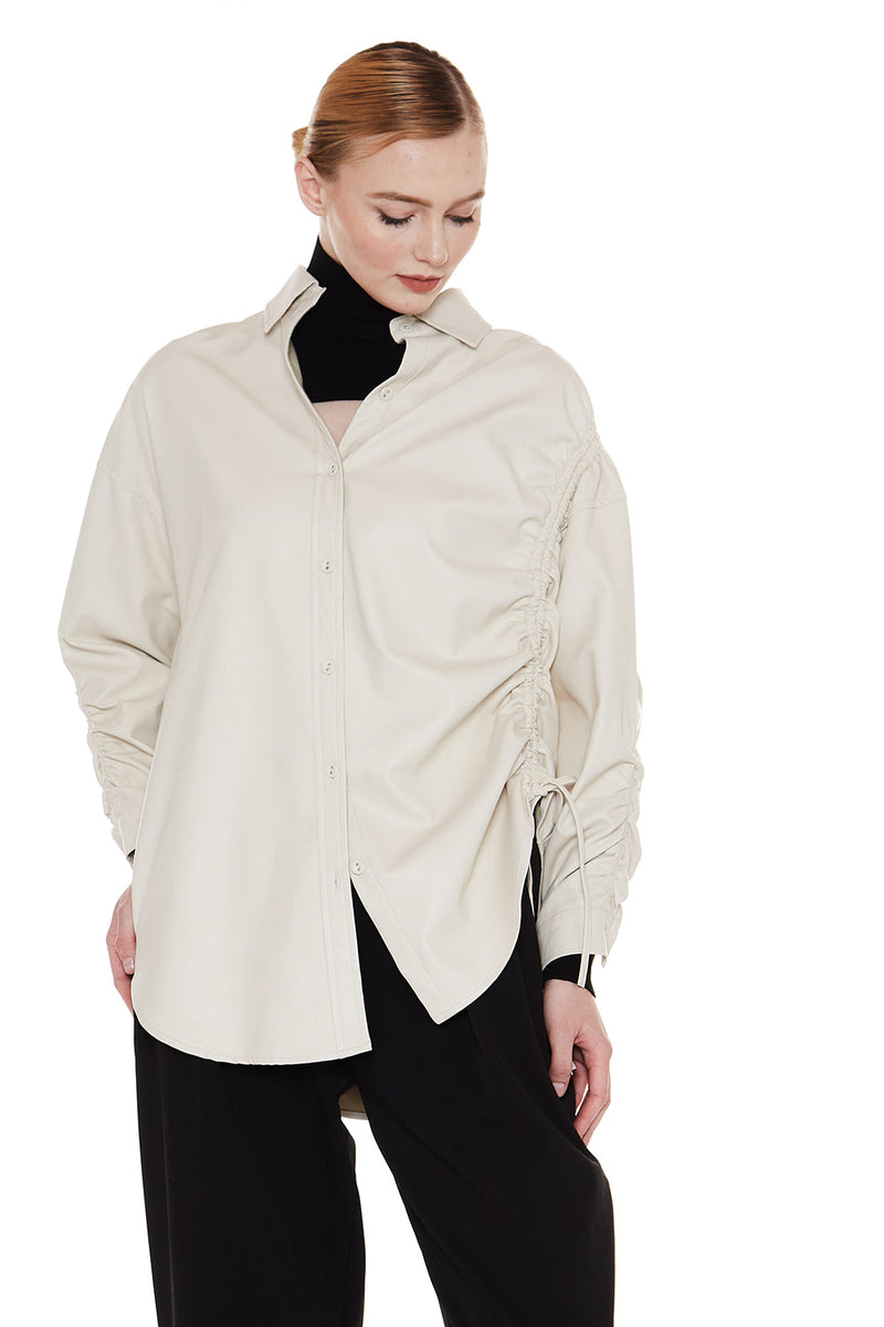 Faux Leather Shirt with Drawstrings - Shop Beulah Style