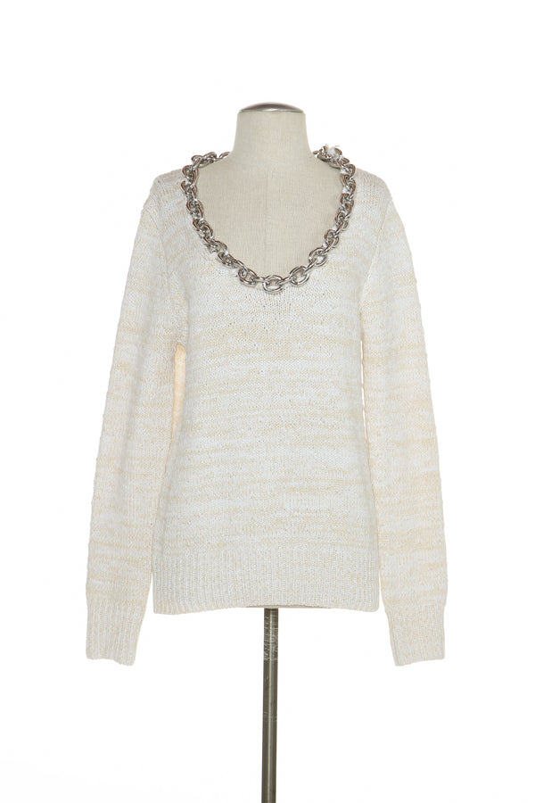 Chain-Trim Scoop Neck Sweater - Shop Beulah Style