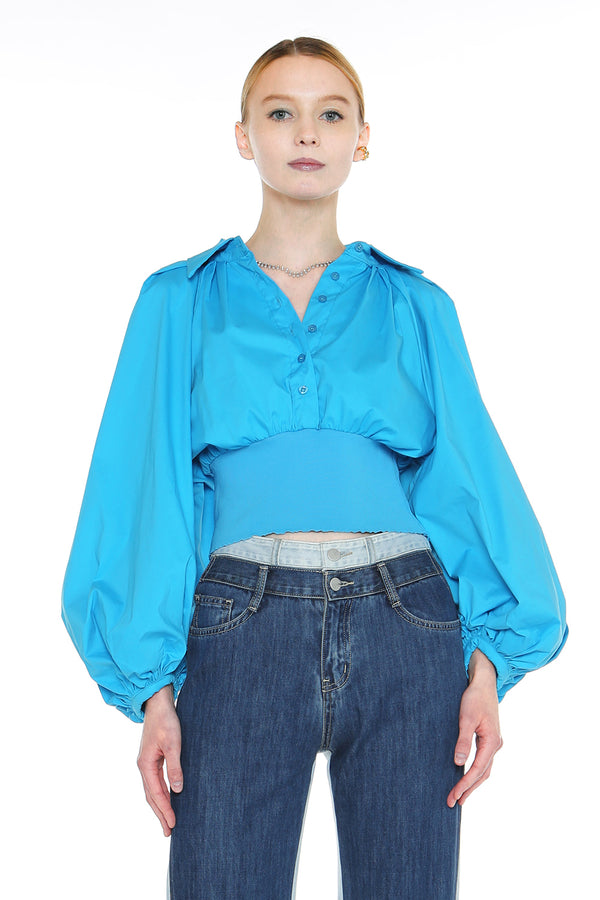 Wide Balloon Sleeve Crop Top - Shop Beulah Style
