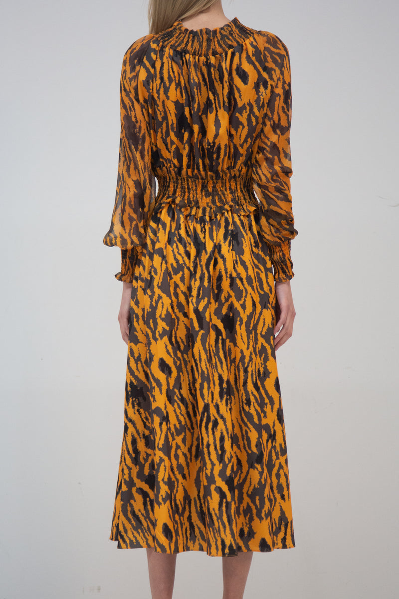 Cinched Waist Leopard Print Midi Dress - Shop Beulah Style