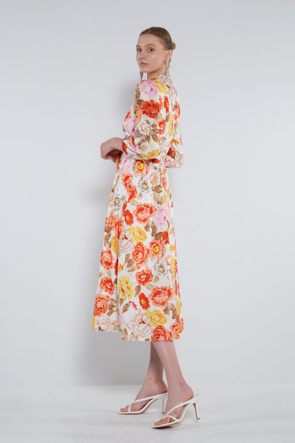 Scalloped V-neck Empire Floral Dress - Shop Beulah Style