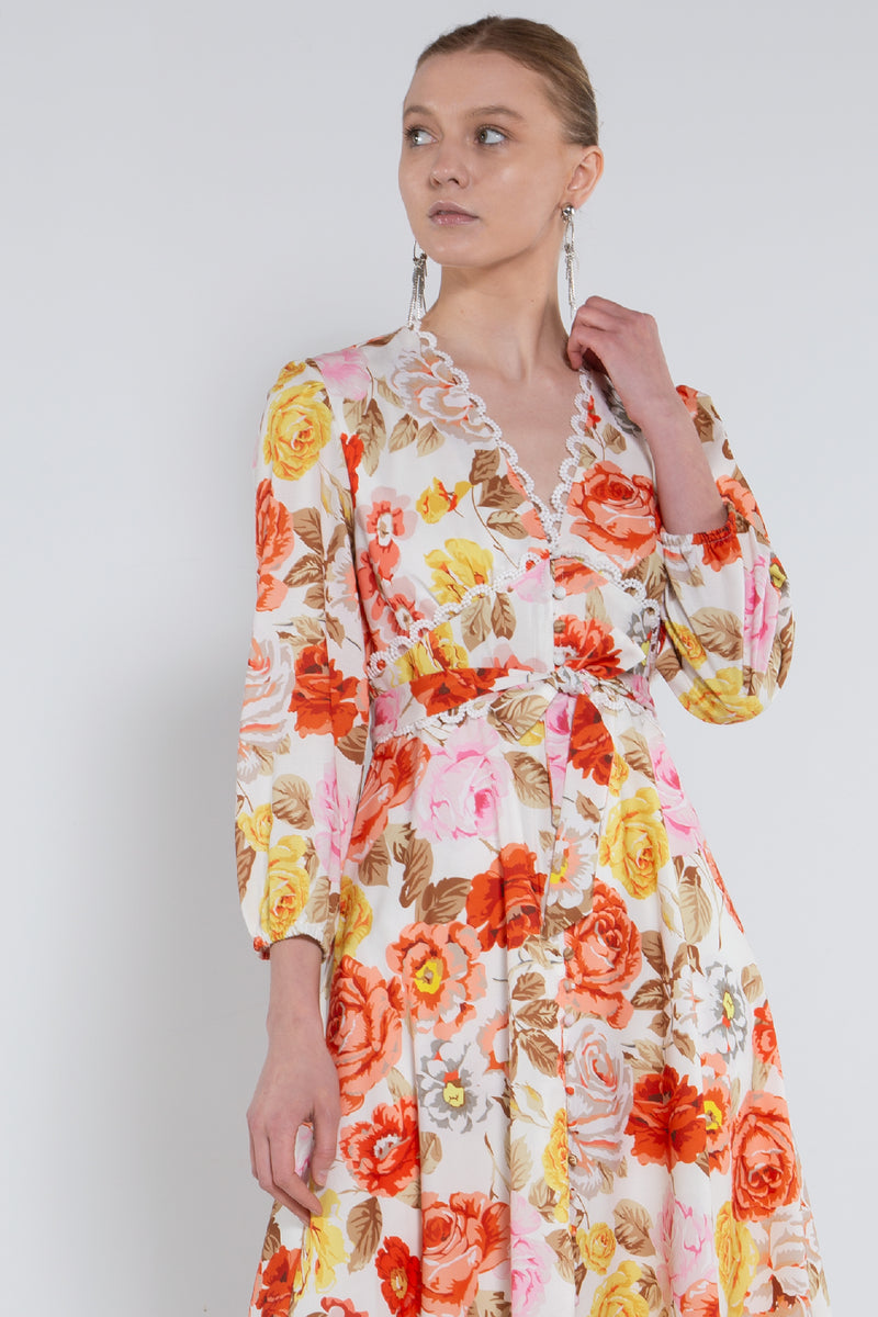 Scalloped V-neck Empire Floral Dress