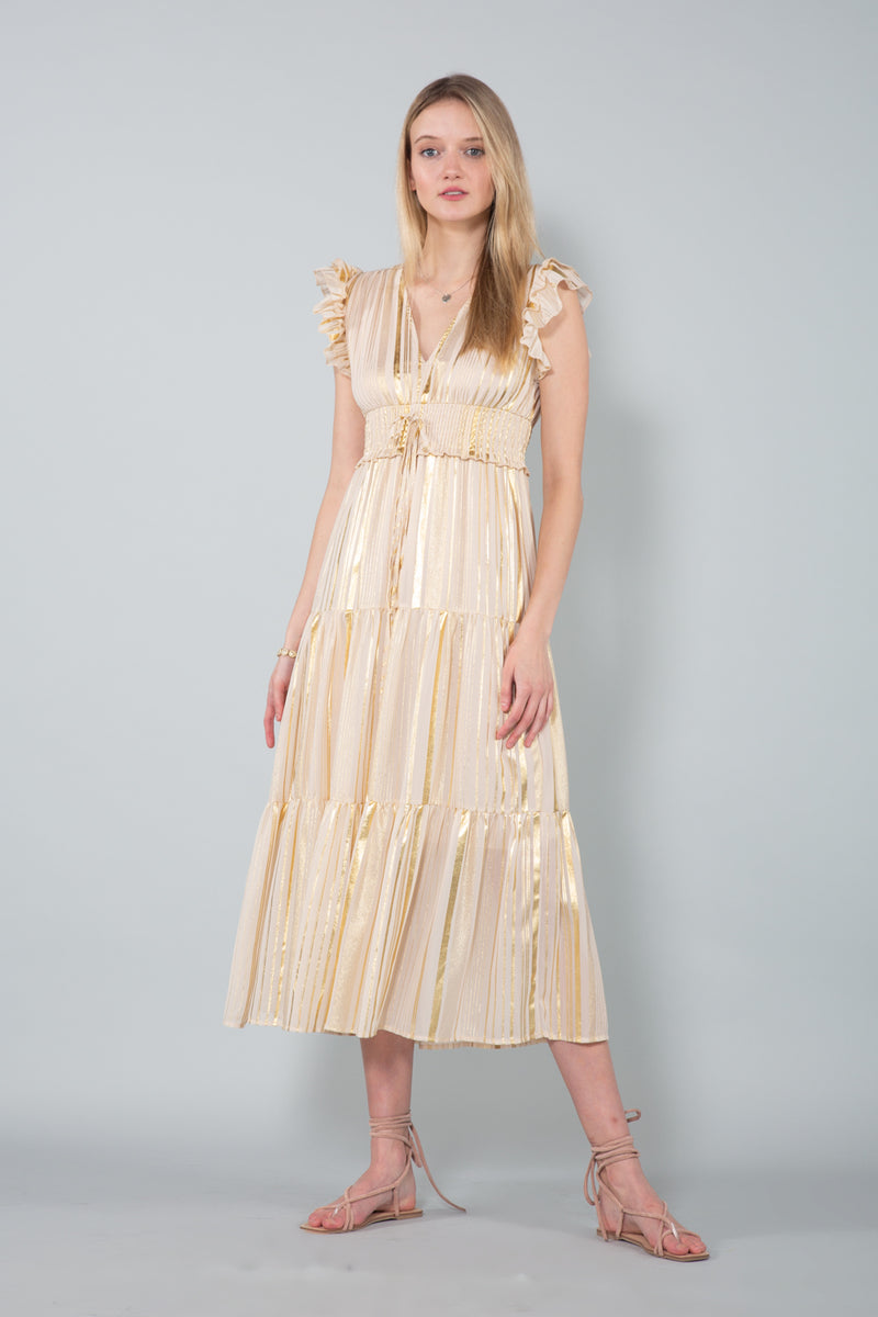 Frilled V-neck Gold Sheer Maxi Dress - Shop Beulah Style