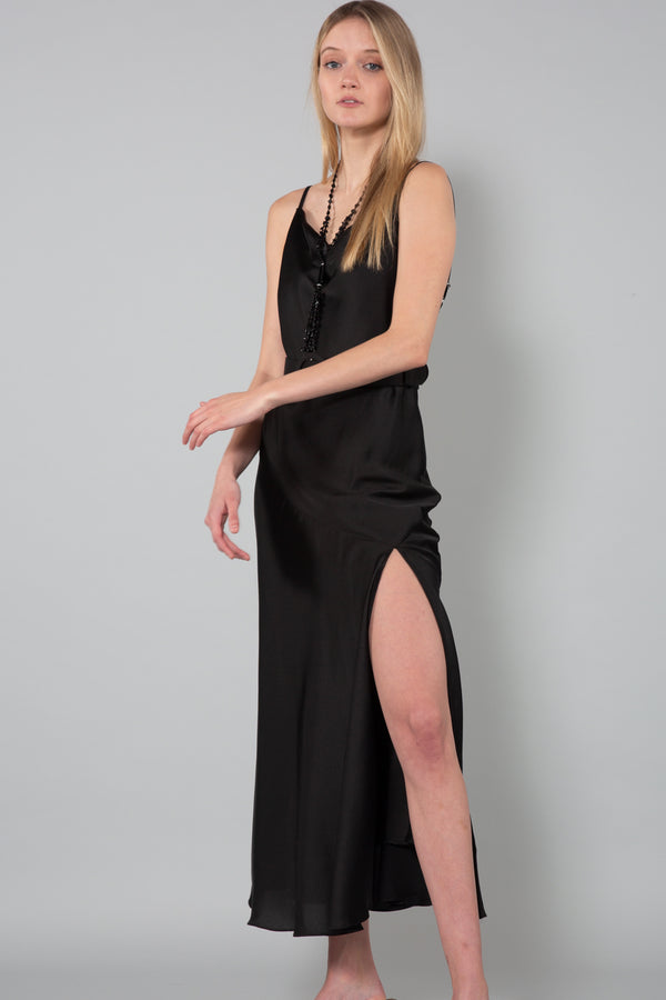 Satin Maxi Dress with Belt Detail - Shop Beulah Style