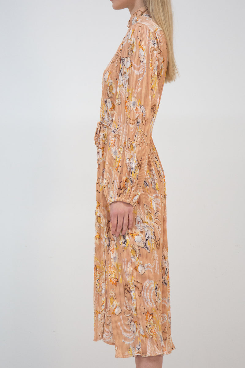 Pleated Floral Silky Midi Dress - Shop Beulah Style