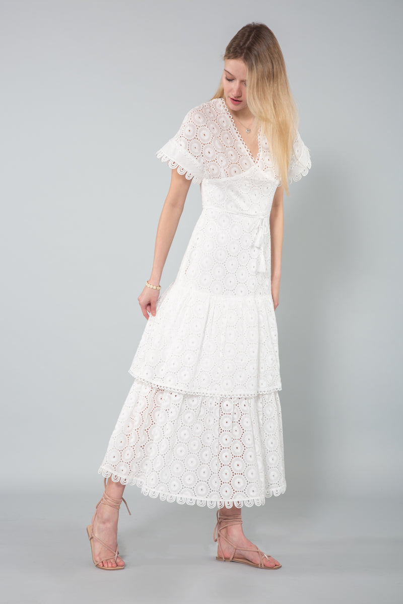 V-Neck Layered Lace Maxi Dress - Shop Beulah Style