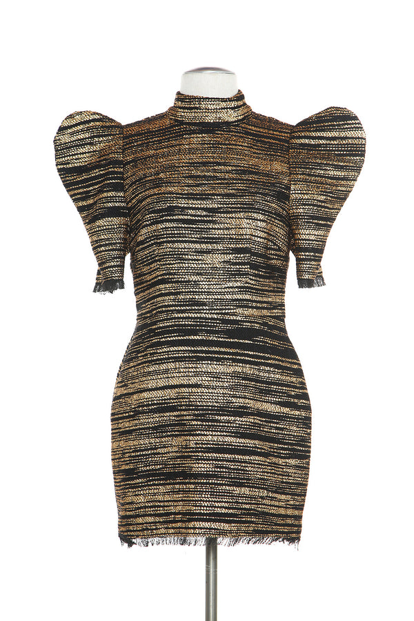 Textured Dress with Power Shoulder - Shop Beulah Style
