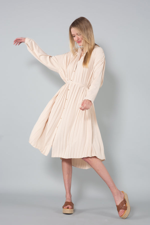 Pleated Midi Dress with Belt - Shop Beulah Style