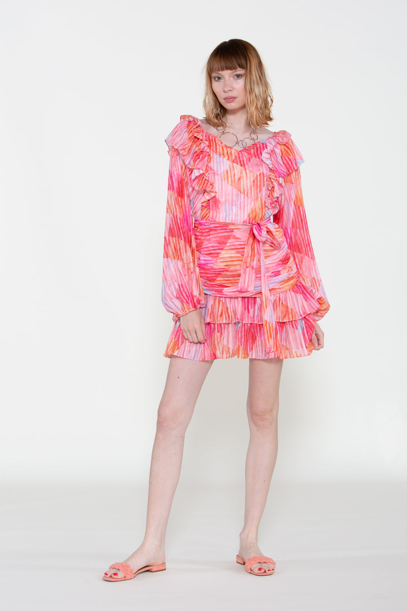 Ruffle Frills Chiffon Mini Dress - Shop Beulah Style