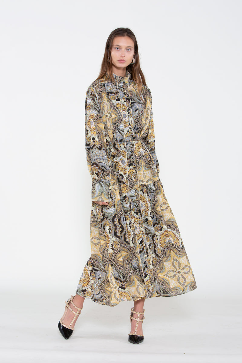 Paisley Wide Collar Dress - Shop Beulah Style