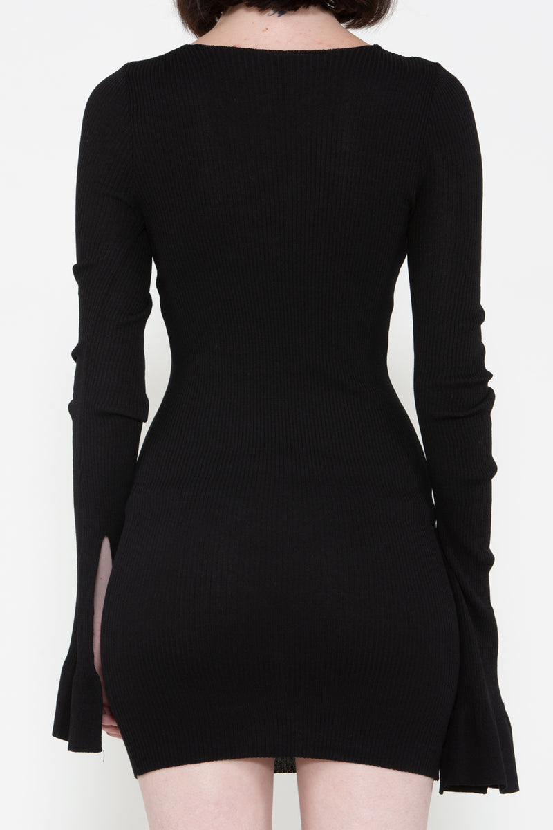 Chain Neck Ribbed Dress - Shop Beulah Style
