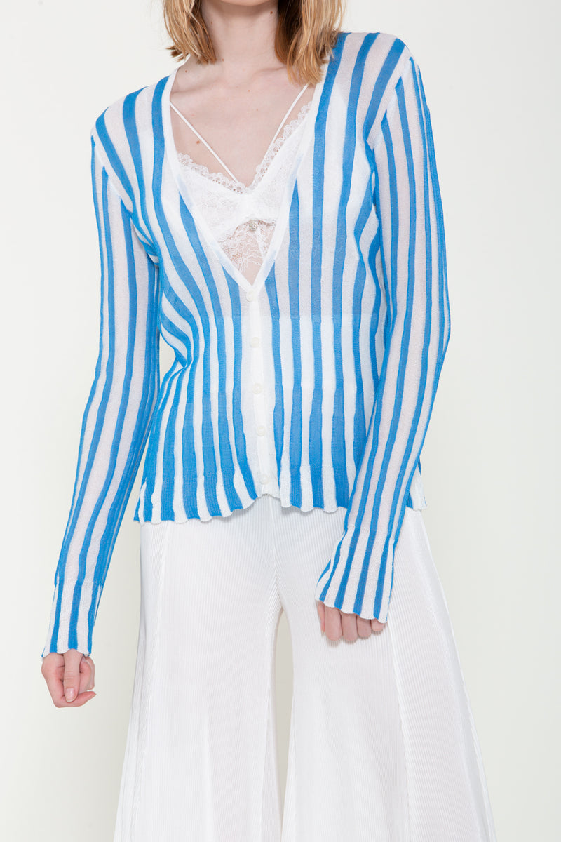 Stripe Ribbed Knit Cardigan - Shop Beulah Style