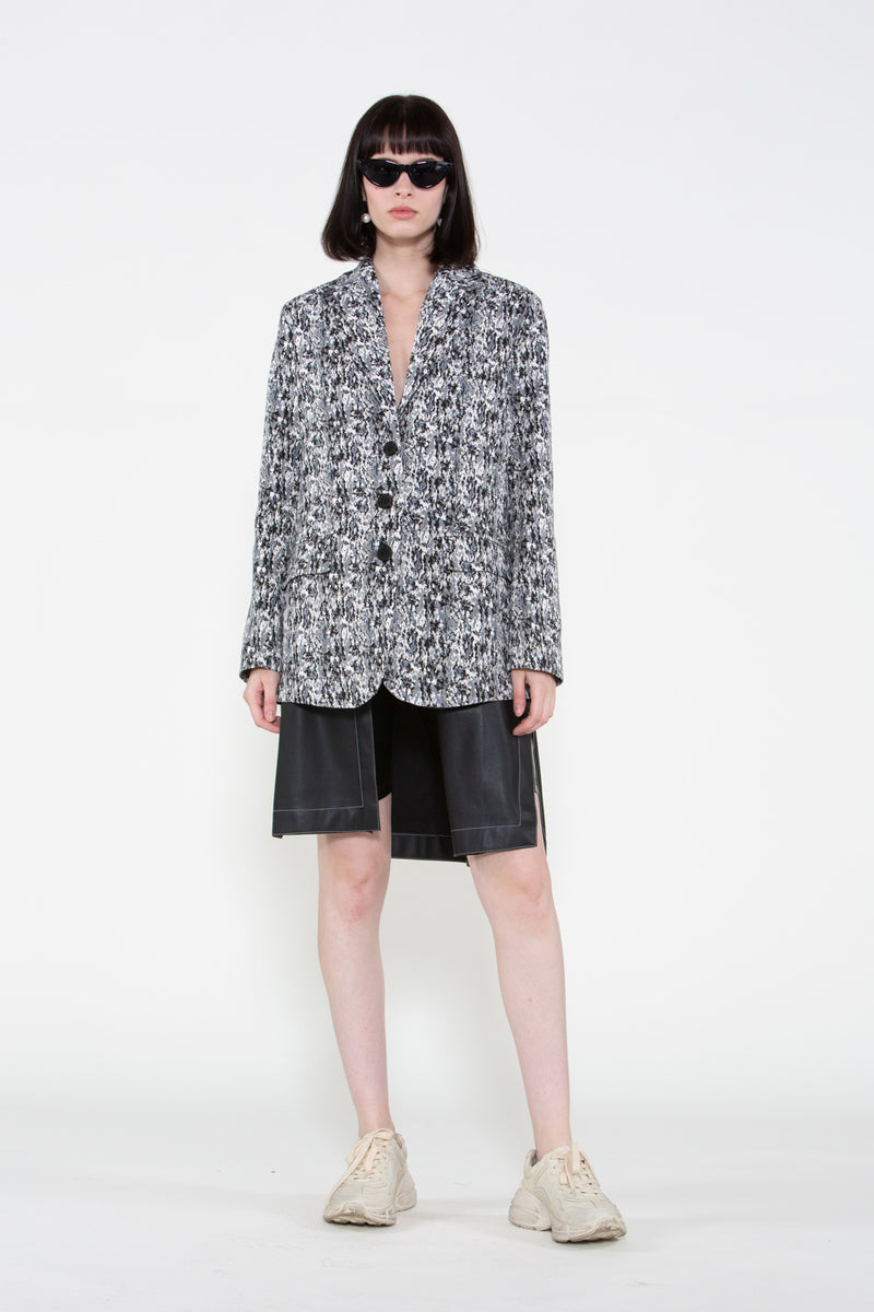 Jacquard Jacket with Layered Faux Leather Piece - Shop Beulah Style
