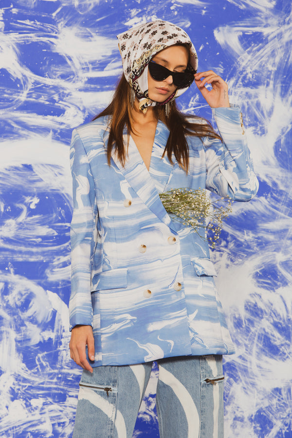 Abstract Blue Marbled Jacket - Shop Beulah Style
