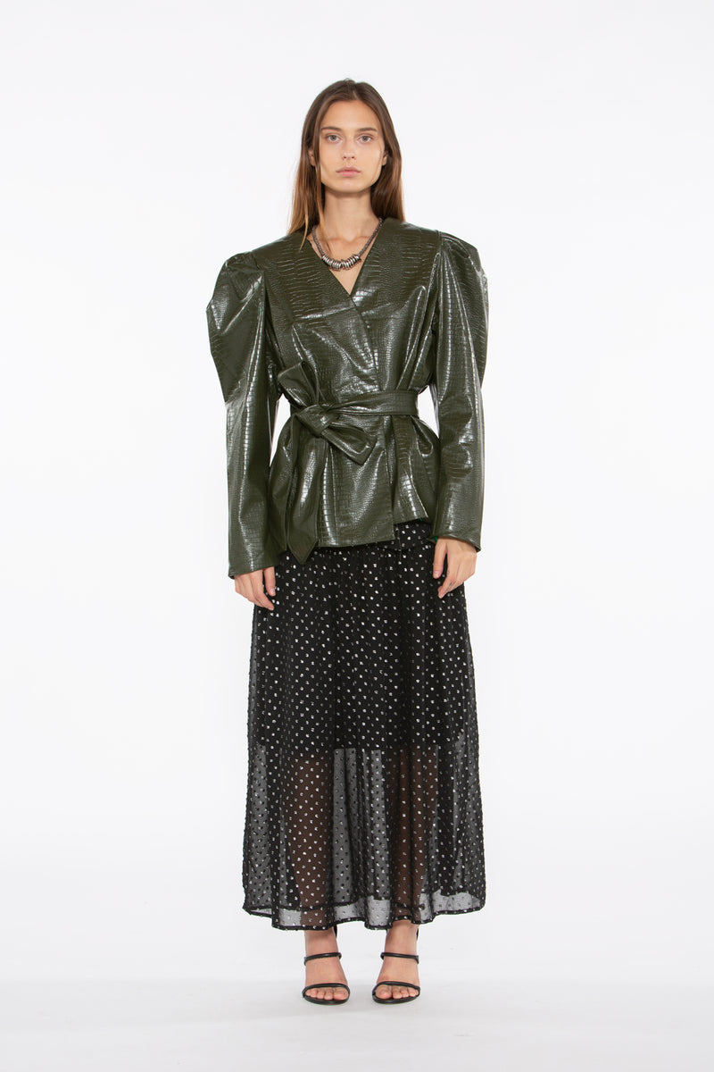 Faux Crocodile Jacket Puff Shoulder - Shop Beulah Style