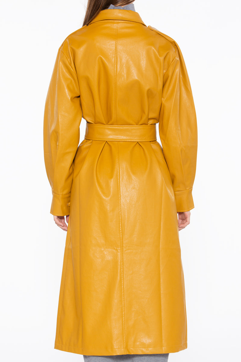 Vegan Leather Long Trench Coat - Shop Beulah Style