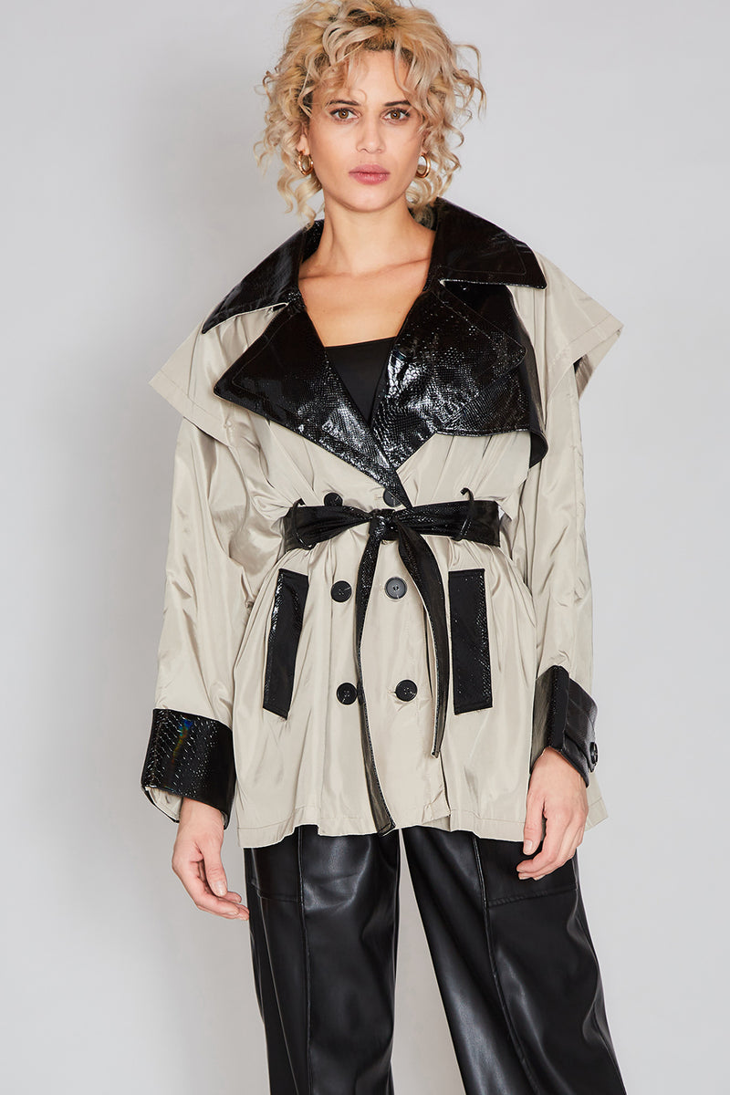 Trench Half Coat with Croc Skin Detail - Shop Beulah Style