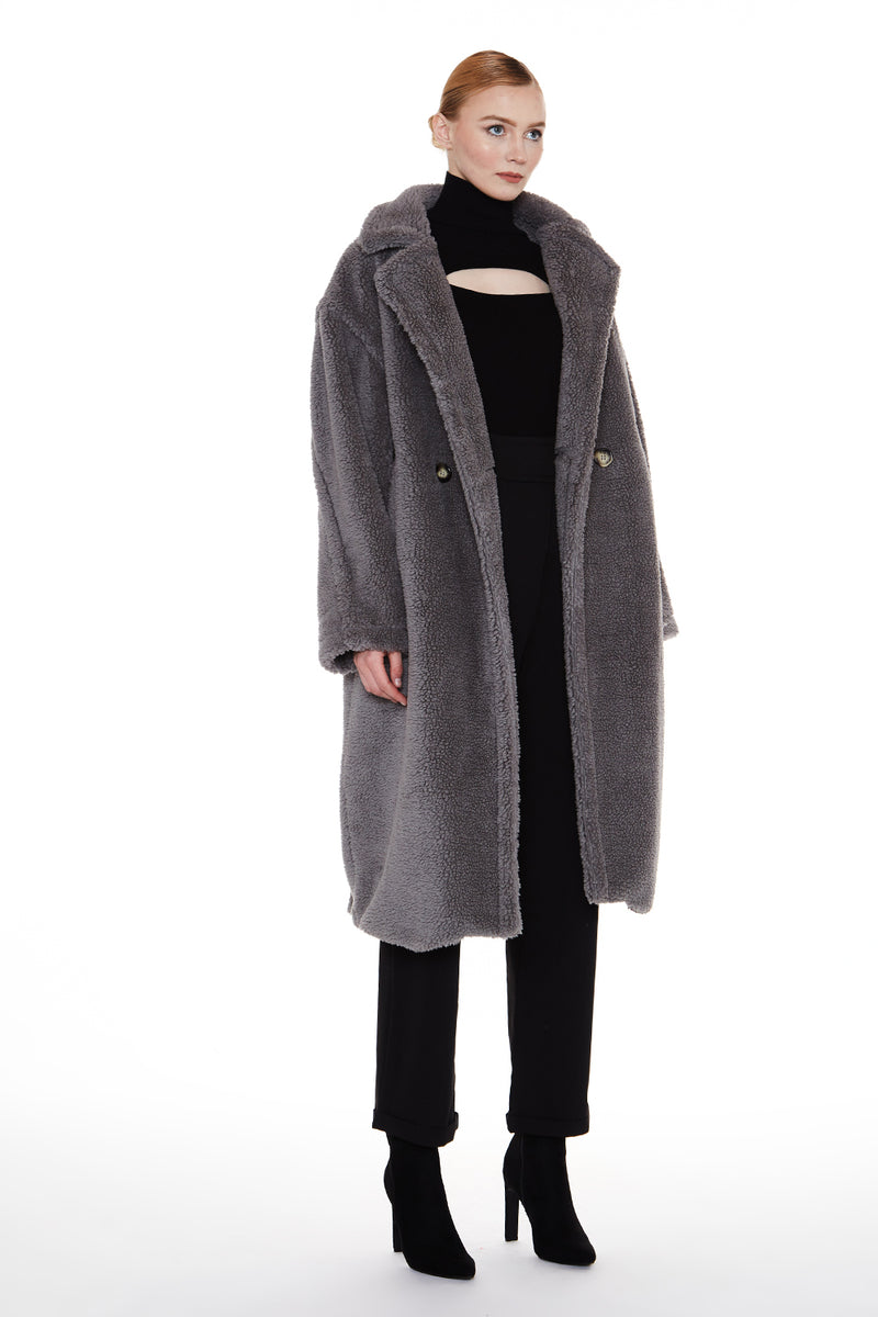 Faux Shearling Long Coat - Shop Beulah Style