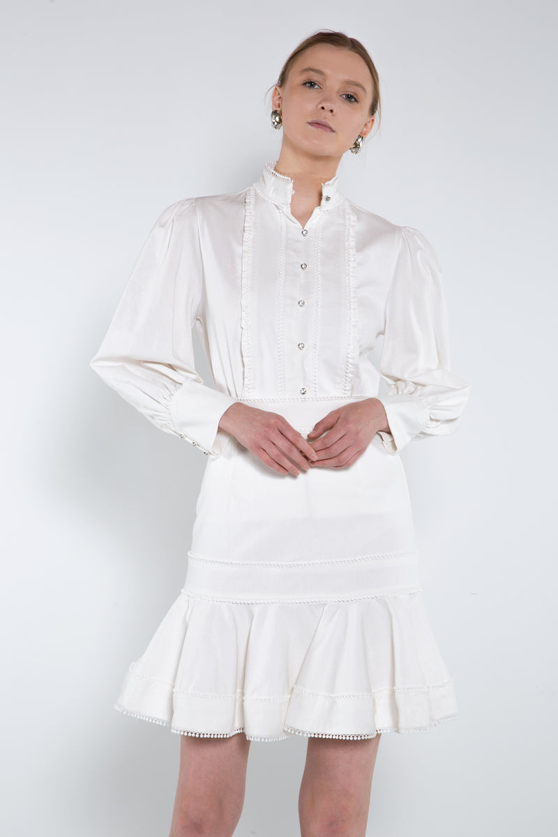 Smocked Button Up Blouse and Pleated Skirt Set - Shop Beulah Style