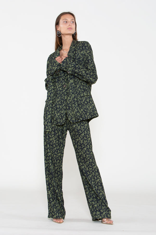 Leaf Print Pleated Chiffon Suit Set - Shop Beulah Style